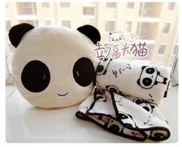 2017 oreillers panda en peluche Vente en gros-livraison Gratuite vacances, vente de cadeau d'anniversaire de la qualité mignon panda en peluche oreiller avec une couverture chaude en peluche coussin peluche budget oreillers panda en peluche