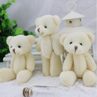Wholesale Promotion factory CM white jointed mini teddy bear small teddy bear keychain cartoon bouquet toy wedding gifts