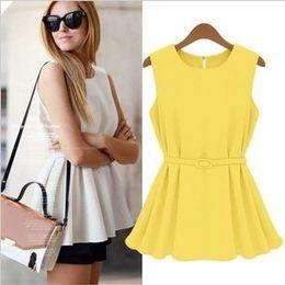 Wholesale-women peplum tee tshirts neon yellow moleton blouses tank top sashes belt Summer roupas femininas large size XL Vest camisole