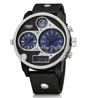 Cheap Wholesale-Army Watch Men Sports Military Style Fashion Men Quartz LCD Dual Movement Multifunctional Male Analog Digital Watches And Clocks