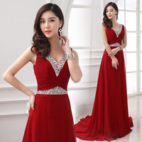 Cheap Wholesale-Cheap fashion V-neck wine red rose royal blue long bridesmaid dresses 2015 prom to wedding party dress under $ 50 maid of honor