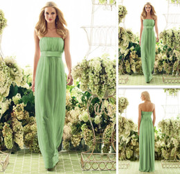 Wholesale Empire Waist Floor Length Pencil Chiffon Lime Green Bridesmaid Dress