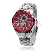 Cheap Wholesale-2015 CURREN Round Dial Metal Full steel Band Japan Movt Men Wrist Watch Waterproof Stainless Steel 8023 Red Relogio