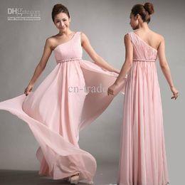Wholesale Bridesmaid Dresses Sweet Princess Greek Style Goddess One shoulder Pink Party Dress Custom Made New
