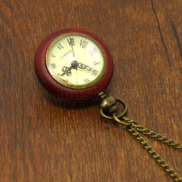 Wholesale Wood Circle Around Fish Eye Clear Glass Ball Pocket Watch With Chain P13