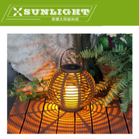 atmosphere energy - Solar energy yellow LED cane rattan lantern light warm atmosphere candle chandeliers decorative lamp