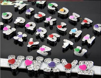 Wholesale mm A Z Heart slide letters DIY accessory fit pet collar amp wristband