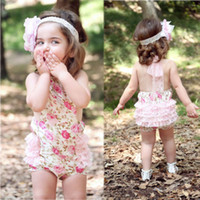 Wholesale NEW Arrival Cute Baby Kids Girls Princess Rompers Lace Floral print jumpsuits drop shipping