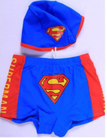 Cheap Wholesale-2015 real solid new little boy kids cute superman swimwear child pool beachwear swimming trunks shorts cheap two pieces swimsuit