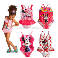 childrens wear - Retail Baby Girl Minnie Mouse Character Childrens kids girls one piece swim wear swimming wear bather swimsuit