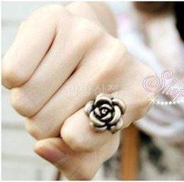 Most Popular Fashion Vintage Rose Flower Rings Retro Adjustable Bronze Individuality Ring 50pcs lot