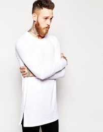 Wholesale- new arrival longline long sleeve t-shirt extra length t shirt solid tall men tshirt with zipper to the hem