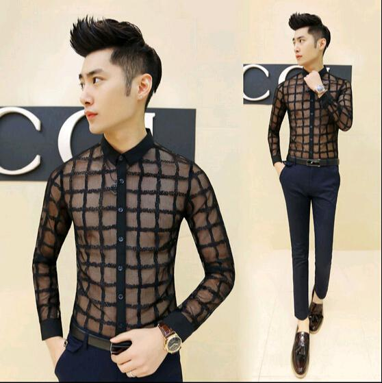 2017 Wholesale Hot New Korean Fashion Mens See Through Shirts Casual Lace Slim Fit Dress Shirt