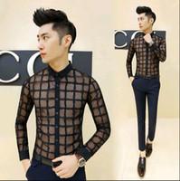 Wholesale Hot New Korean Fashion Mens See Through Shirts Casual Lace Slim Fit Dress Shirt Men Shirts With Long Sleeves Black White