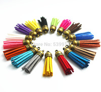 Cheap Wholesale-Hot Sale100Pcs Lot 35mm Mixed Suede Leather Jewelry Tassel For Key Chains  Cellphone Charms Bronze Top Plated End Caps Cord Tip
