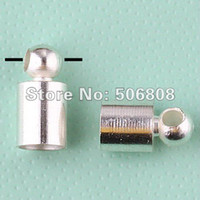 Cheap Wholesale-500PCS LOT Wholesale Metal Silver Plated End Bead Caps For 3.5mm Leather Cord Jewelry Findings, Free Nickel And lead