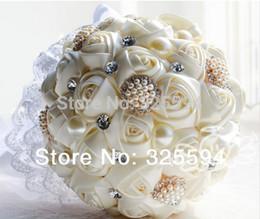 Wholesale HOT cm Elegant Handmade Pearl and crystal Silk Roses flower Bride Bridal Wedding Bouquets D187 amazing holding flowers