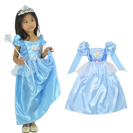 Wholesale Party Cosplay Costume Supplier Cute Little Girl Christmas blue Cinderella Skirt Princess Halloween Costumes fancy dress