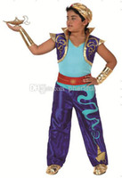 aladdin accessories - New Style Carnival Cosplay Costume Party Clothing kid Aladdin costumes with shirt trousers and vest hat Blue