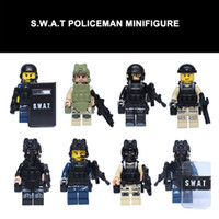 Wholesale LELE SWAT Riot Shield Control Officer SNIPER Police mini figure Squad Minifigure Navy Seal Team building blocks