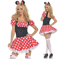 Wholesale Red with white polka dot Mini Minnie Mouse Costume Sexy Uniform temptation Halloween cosplay costumes
