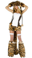 Wholesale New arrive fur sexy tiger cosplay women halloween costumes sexy fancy dress FS493