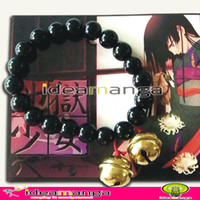 ai hand - Anime HELL GIRL Enma Ai hand chain Bean Stone Bracelet with two Bells in golden Cosplay accessory halloween Christmas Party