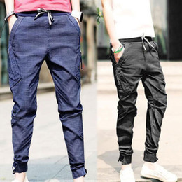 Wholesale-Details about Mens Harem Pants Trousers Tapered Drop Crotch Cuffed Jogger Casual 4 Size