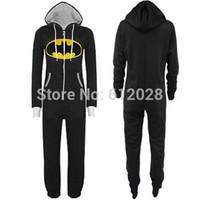 batman onesie - Hot Sale New Unisex Mens And Womens Onesie Batman Hooded Zip Front Jumpsuit