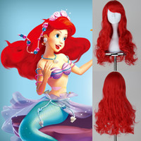 ariel costume accessories - ariel wig mermaid wig adult Princess Ariel cosplay accessories party Wine red Cosplay Wig long cos hair wig cm