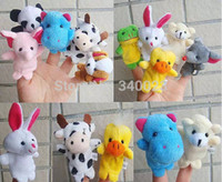 Cheap Wholesale-Free Shipping 15PCS Lot Baby Plush Toy Finger Puppets Tell Story Props(10 Animal Group)Animal Doll  Kids Toys Children Gift BP53