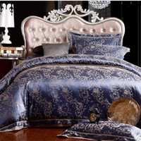 silk bedding - Hot silk bedding set Queen King size Noble Luxury bed set linen tribute silk satin jacquard duvet cover sheet bedclothes