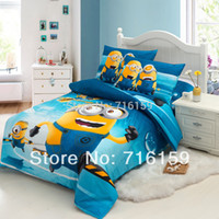 Wholesale Twin full Queen Size Cotton Baby kid Cartoon Minions Pattern Bedding Set bed linens bed cover duvet cover Home Textile bpc01