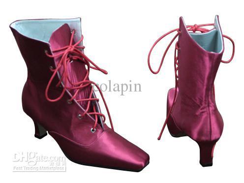 eea3104289fe low profit fashion wedding shoes burgundy satin upper mid heel lace up  fashion short