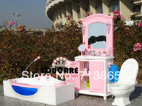 bathroom suites - Girl birthday gift plastic Play Set Furniture Bathroom Toilet suite dDressing table accessories for barbie doll