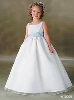Satin wedding dresses 2011 - 2011 Flower Gril Dresses for wedding Junior New Style Custom Make Satin Organza HT0005