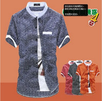 Wholesale Summer men stand collar shirt with short sleeves Korean cultivating simple male short sleeve shirt t556