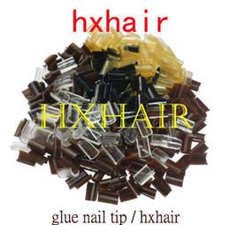 1000pcs Glue Keratin Nail Tip   Mixed Colors   Black DarkBrown Brown LightBrown Blonde Transparent