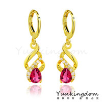 fashion jewelry dropship - Dropship Real K Gold Filled Fashion Design Hot Romantic Cubic Zircon Lady Women Drop Earrings Dangler Jewelry