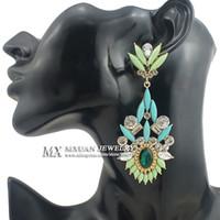 big orange earrings - Fashion Big Neon Orange Resin Rhinestone Drop Earrings Vintage Jewelry For Women ER012