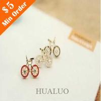 Wholesale Fashion Jewelry Vintage Cute Bike Design Drop Earrings Love Bicycle Earring White E50 E51 E52