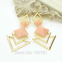 Wholesale Gold Color Alloy Black Pink Blue Red Imitation Gemstone Triangle Dangle Earrings Fashion Jewelry For Women
