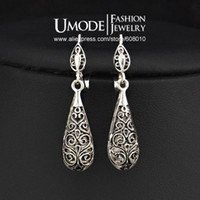 Wholesale UMODE Antique Silver Plated Vintage Alloy Carven Pattern Clasp Dangle Earrings JE0196
