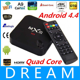 Wholesale-MXIII TV Box Amlogic S802 Quad Core XBMC 2GB RAM 8G WiFi 4k HDMI Android 4.4 MX III Media Player Better Than Amlogic MX MX2 GBOX