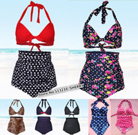 Wholesale plus size high waist bikini sets plus size swimsuit vintage bikinis retro swimwear high waist bathing suit push up swimsuit sexy