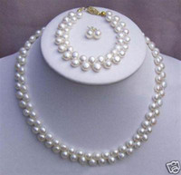 Wholesale set white freshwater pearl necklace bracelet earring