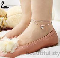 Wholesale At least can mix order fashion silver gentlewomen multi layer rhinestone dog elegant Foot Bracelet anklets Hot sale W075