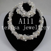 Wholesale New Style A111 White Color Natural Fresh water pearls Necklace Pearls Jewellery Sets
