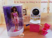 accessories for dollhouse - Purple Bathroom Washroom hand washing sink Closestool Sets Dollhouse Furniture Accessories for Barbie Kurhn Kelly Ken Doll