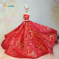 Wholesale Top Doll Dress Chinese Red Style Evening Gown Purely Manual Clothes Wedding Dress for Barbie Dolls Noble Suit
